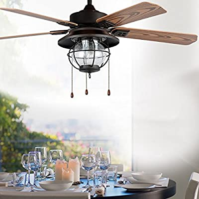 "LITFAD Industrial Fan Antique Black Browns 51.97"" Vintage Pendant Light Ceiling Light Retro Chandelier with Seedy Glass"
