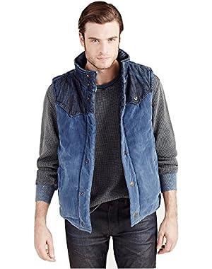 Men's Reversible Puffer Denim Corduroy Vest Jacket in Indigo