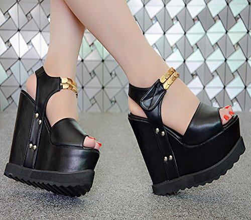 centímetros XiaoGao 15 de negro con 137 tacón Sandalias espesor 32 de nWpqpFfU