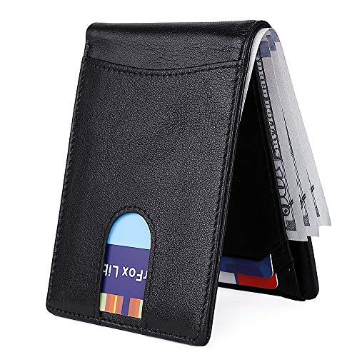 Men's Slim Leather Wallet Small Billfold Front Pocket Wallet with RFID Blocking ID window - Bi Pony Fold Wallet
