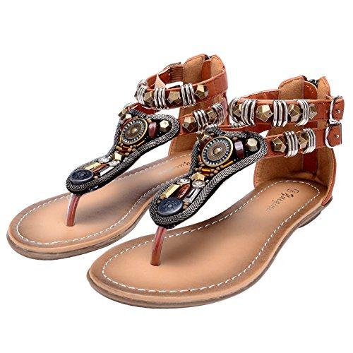 Odema Summer Bohemian Coin Stud Back Zip Flat Womens Beach Thong Sandals