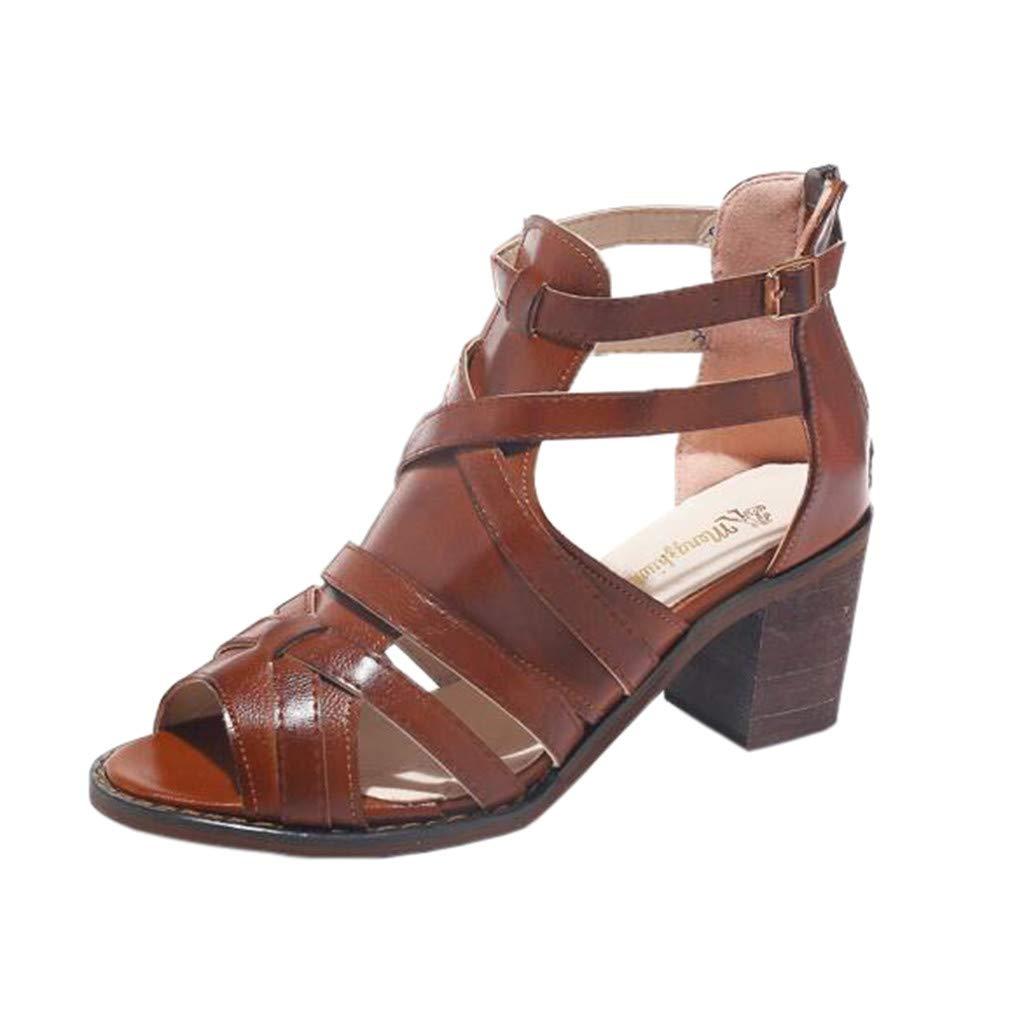 Tantisy ♣↭♣ Women's Leather High Heels/Temperament Roman Shoes/Zipper/Fish Mouth/Fashion Sandals/Heel High: 6cm/2.4'' Brown