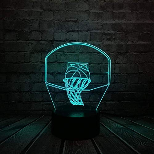 3D Illusion Night Light Lámpara de mesa visual Giftbasketball Stand Usb 7 Color Switch Touch