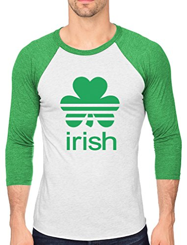 St. Patrick's Day Shamrock Clover - Irish 3/4 Sleeve Baseball Jersey Shirt Medium Green/White