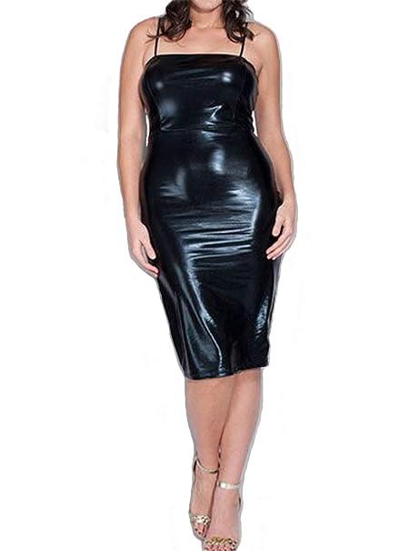 Red Dot Boutique 845 - Plus Size Shoulder Strap PVC Faux Stretchy Leather  Club Dress Black …