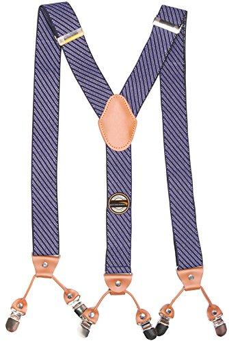 Stripes Pattern Wide 6 Clips Suspenders for Men & Women Heavy Duty Dress shirt Braces Refinemmee (Blue)