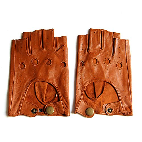 YISEVEN Men's Motorcycle Driving Fingerless Leather Gloves Unlined Classic Soft Sheepskin 1/2 Half Finger Button Punk Cycling Fitness Touchscreen Texting Warm Winter Dress, Bright Brown 11.0