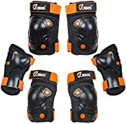 JBM 3 in 1 Protective Gear Set- Wrist Guards, Elbow Pads and Knee Pads with Adjustable Strap Safety Pad Set f