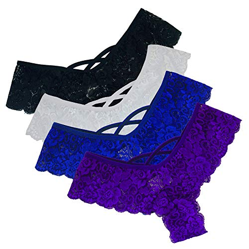 G-string Plus (Panties Underwear Hipster Panties Sexy G-String Lace Briefs for Women (4 Pack) Black,Blue,Purple,White XXXL)