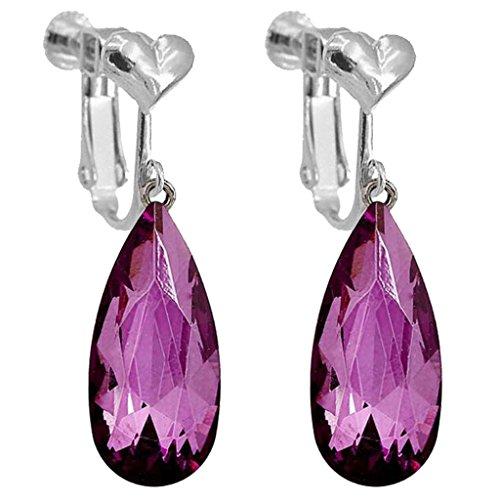 Fashion Clip on Earrings Heart Clip for Girls Women Purple Crystal Long Teardrop Dangle Prom Jewelry ()