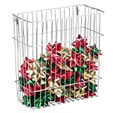 mDesign Wall Mount Holiday Gift Wrap Organizer Basket for Wrapping Paper Storage, Gift Bags, Bows – Chrome