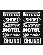Stickerset, 12 stuks, wit, logo, Pireli, Akrapvic, 16 cm, voor auto, motorfiets, vrachtwagen, decoratie