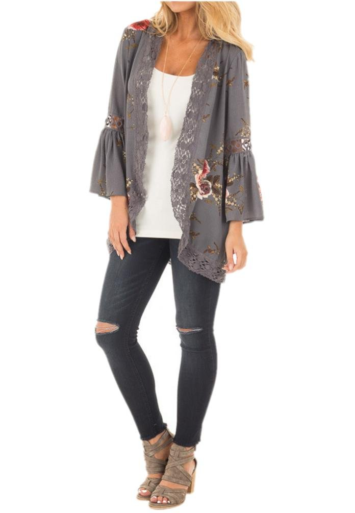 Sipaya Girls' Hollow Out Lace Floral Cardigan Open Front Cover up Blouse Grey L