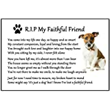 Jack Russell Terrier Dog Bereavement Gift Magnet - RIP My Faithful Friend - dog loss, sympathy, memorial Flexible Magnet 6 x 4 by Fridge Magnets