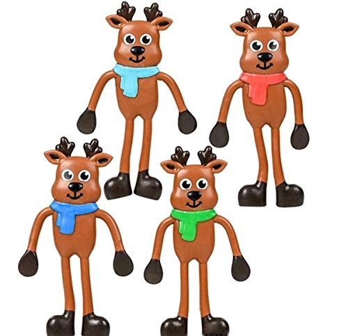 12 Pack 4.5 inch Christmas Reindeer Bendables - Fun Toys - Stocking Stuffers - toyco HAPPY DEALS ~ ~