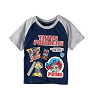 Transformers Toddler Little Boys Raglan Embroidered Patches Graphic T-Shirt
