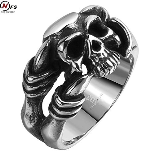 Cherryn Jewelry Brand Men Jewelry Death Skull Head Ring Stainless Steel Men Ring Evil Skeleton Witcher Face Claw Punk - Shaped Pear Men Face