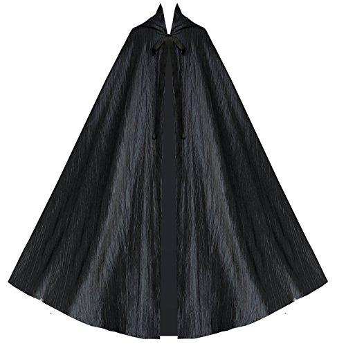 Steampunk Victorian Historical Gothic Hooded Renaissance Cape Cloak Black ()