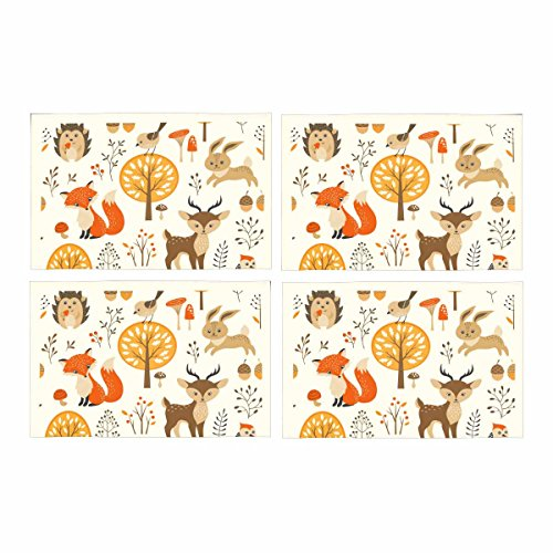 InterestPrint Autumn Forest Harvest with Cute Animals Placemat Place Mat Set of 4, Fall Tree Fox Deer Table Place Mats for Kitchen Dining Table Restaurant Home Decor 12''x18'' by InterestPrint