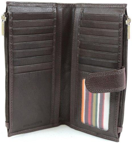 Damen, große Riemchenschuh Geldbörse Leder mit mehreren Kreditkartenfächer und Taschen (schwarz, braun, hellbraun, rot) braun