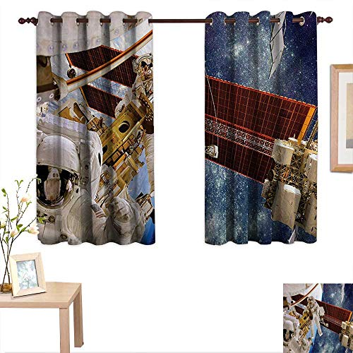 Outer Space Waterproof Window Curtain International Station Scenery Science Deep Dark Matter Search on Earth Design 55