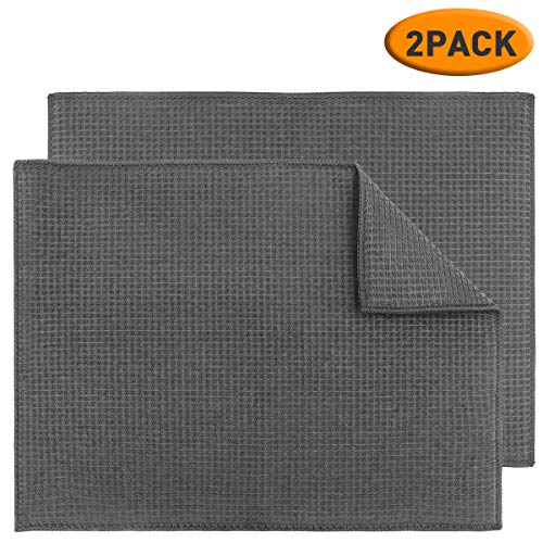 Topsky 2 Pack Dish Drying Mats for Kitchen, Microfiber Dish Bottle Drying Pad Super Absorbent, 15 X 20 Inch, Gray