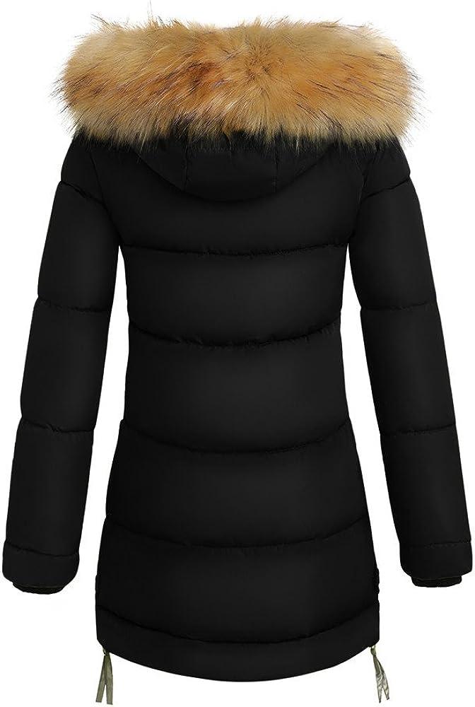 Women Coats Winter F/_Gotal Womens Warm Long Coat Fur Collar Hooded Jacket Slim Down Padded Parka Outwear Winter Warm