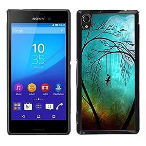 // PHONE CASE GIFT // Duro Estuche protector PC Cáscara Plástico Carcasa Funda Hard Protective Case for Sony Xperia M4 Aqua / Sad Trees Goth /