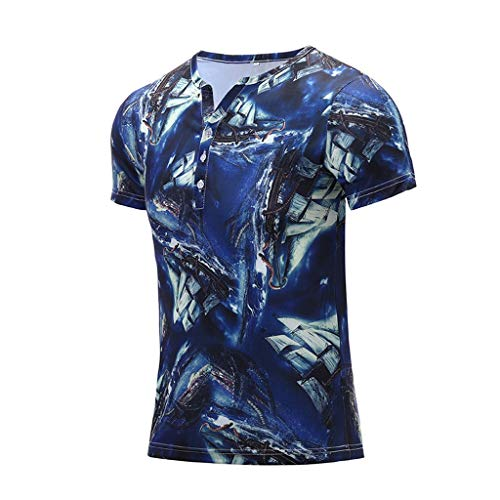 (Fashion Men's Colorful Summer Short Sleeve Fit Casual T-Shirt Blouse Tops Blue)