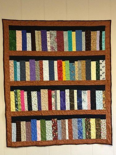 Four shelf Bookcase quilt, library quilt, Bookshelf Quilt, Book Shelves, book lovers quilt, wall hanging, lap quilt, 38