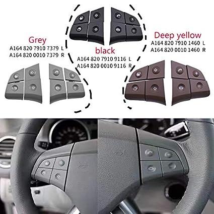 Basage Bot/óN de Volante de Audio Multifunci/óN de Coche para Mercedes W164 GL ML 2006-2009 Negro