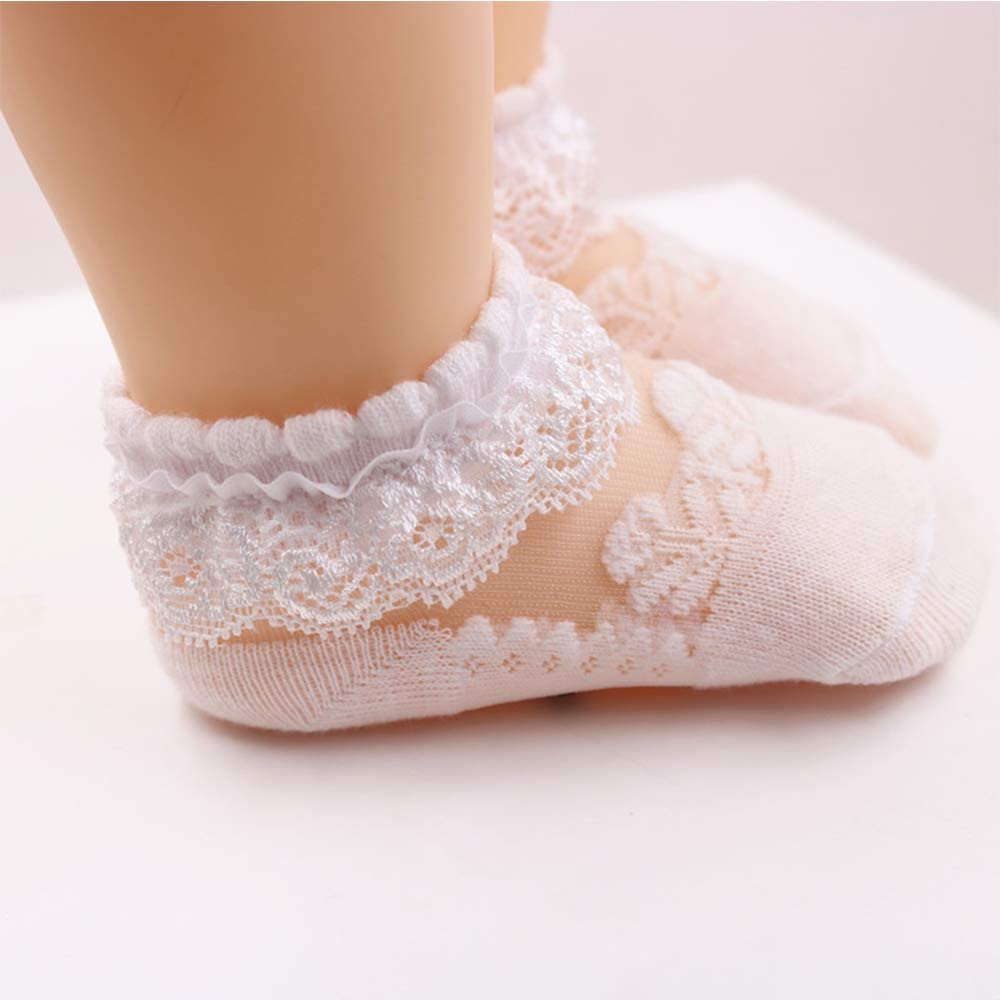 IccoJia Infant Toddler Ruffle Socks Baby Girl Eyelet Frilly Socks Little Girl Princess Lace Ruffle Socks