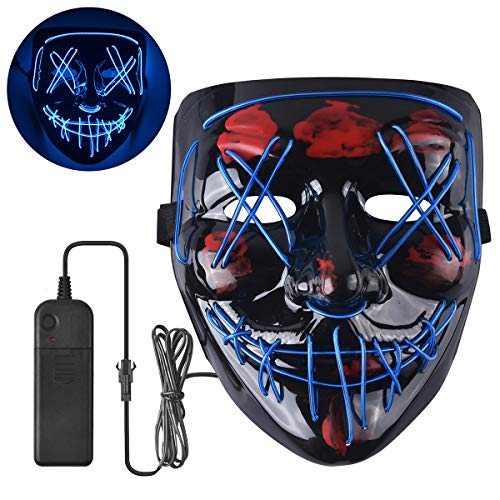 Halloween Mask Scary LED Light Up Mask for Halloween Festival Party Blue