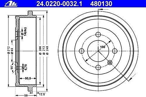 ATE 24.0220-0032.1 Bremstrommel