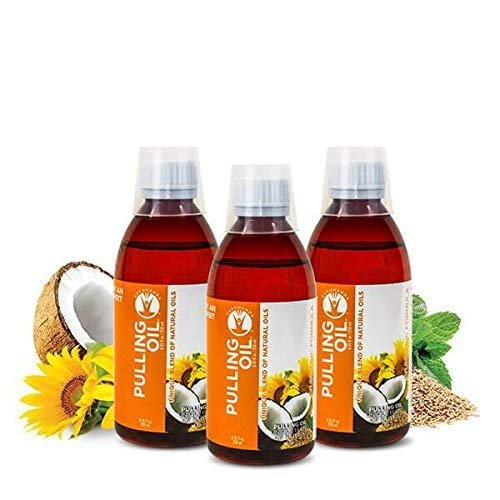 (3 Pk GuruNanda Oil Pulling, Natural Mouthwash, Ayurvedic Blend of Coconut, Sesame, Sunflower, Peppermint Oils. A Refreshing Oral Rinse - Helps Bad Breath, Healthy Gums + Whitens Teeth. (8.45 fl. oz).)