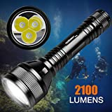 ORCATORCH D800 2100 Lumens Diving Main Light with 3 CREE LED, Powered by 2 26650 Batteries, Tail Rotary Switch, 150M Underwater, for Technical Diving, Wreck Diving, Cave Diving, Fishing
