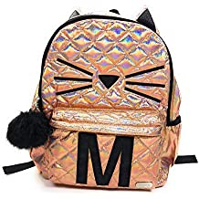[Sponsored]Justice Girls Backpack Quilted Cat Initial Backpack Bag Rucksack Back to School (M)