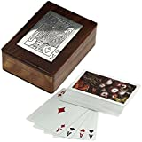 Wood Playing Card Box Vintage Cards Deck Holder Inlaid Art Wooden Antique Carved Trinket - 4.5 Inch