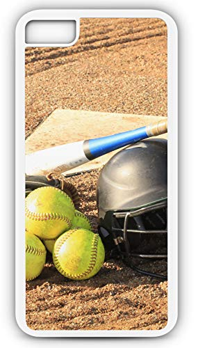 iPhone 7 Case Softball Glove Bat Balls Home Plate Customizable by TYD Designs in White Plastic Black Rubber Tough Case ()
