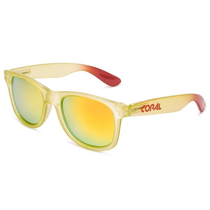 fbdcb96647 CORAL Sunglasses - COOK - Gafas de sol lima y lestes espejo revo amarillo  polarizadas. Acabado frosted.: Amazon.es: Ropa y accesorios