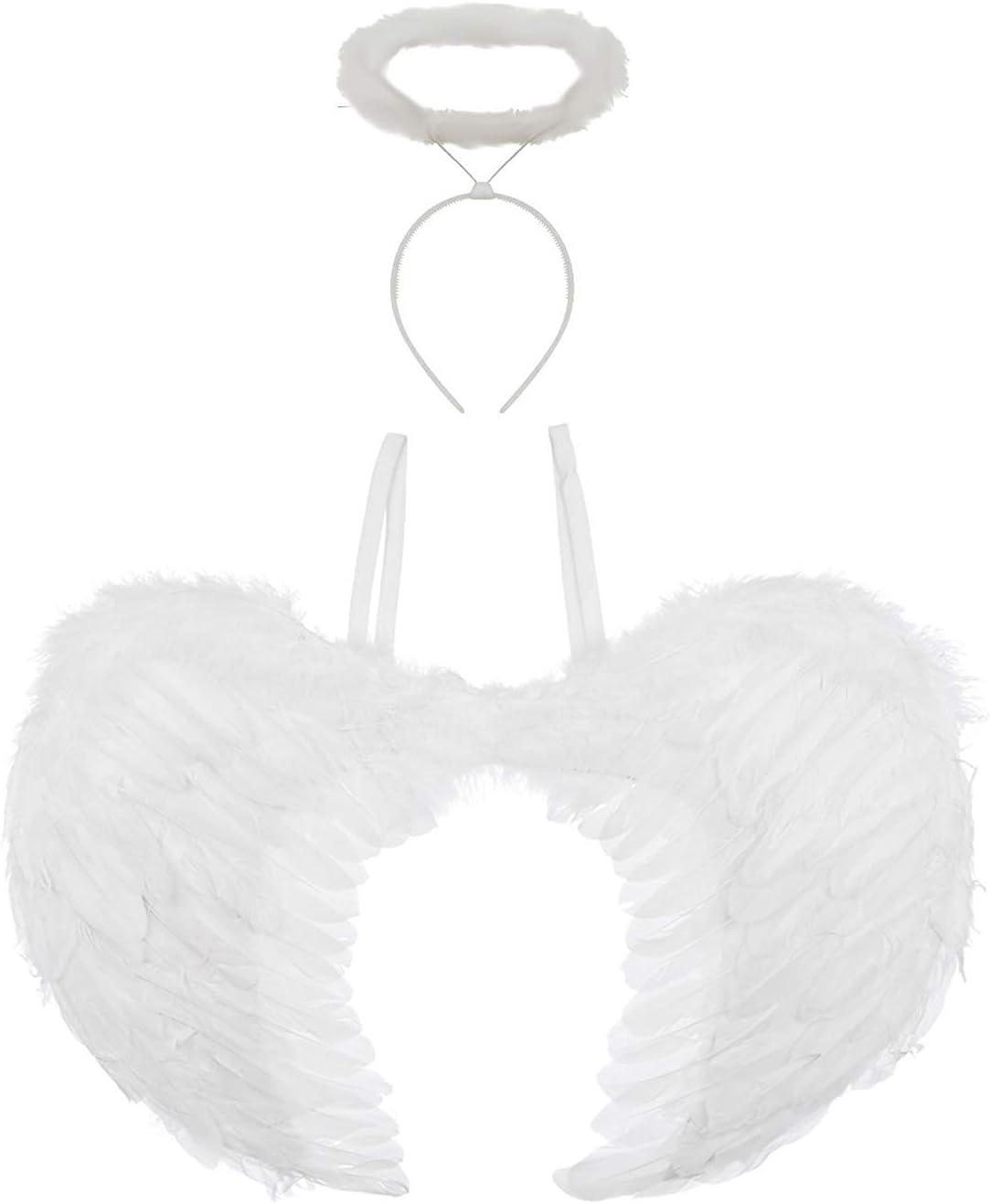 Redstar Fancy Dress - Alas y halo de ángel - Ideal para Halloween - Blanco