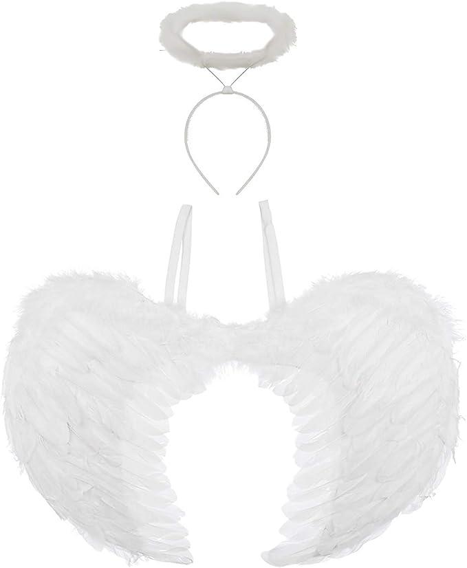 Large Silver Angel Wings Plastic Fancy Dress Accessory