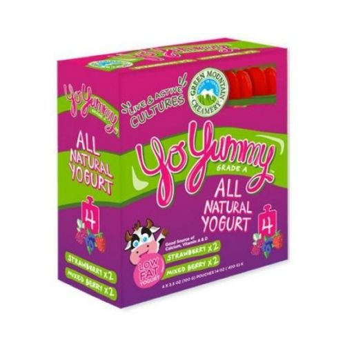 Yo Yummy Mixed Berry and Strawberry Yogurt, 3.5 Ounce - 4 per pack - 6 packs per case. made in Vermont