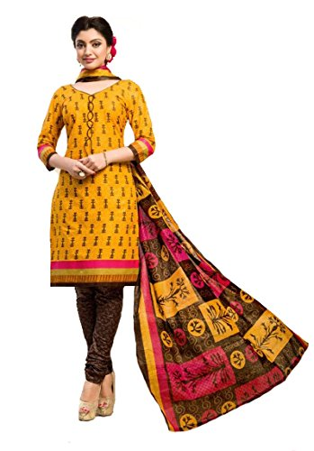 8e4d46e0a1460 Shree Ganesh Retail Womens Printed Churidar Material | Salwar Suit | Salwar  Kameez Unstitched Cotton Dress Material (YELLOW 4002): Amazon.in: Clothing  & ...