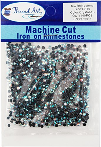 Threadart Machine Cut Hot Fix Rhinestones SS10 (3mm) Crystal AB 10 Gross (1440 Stones/pkg) Hotfix Rhinestones - 25 Colors and 5
