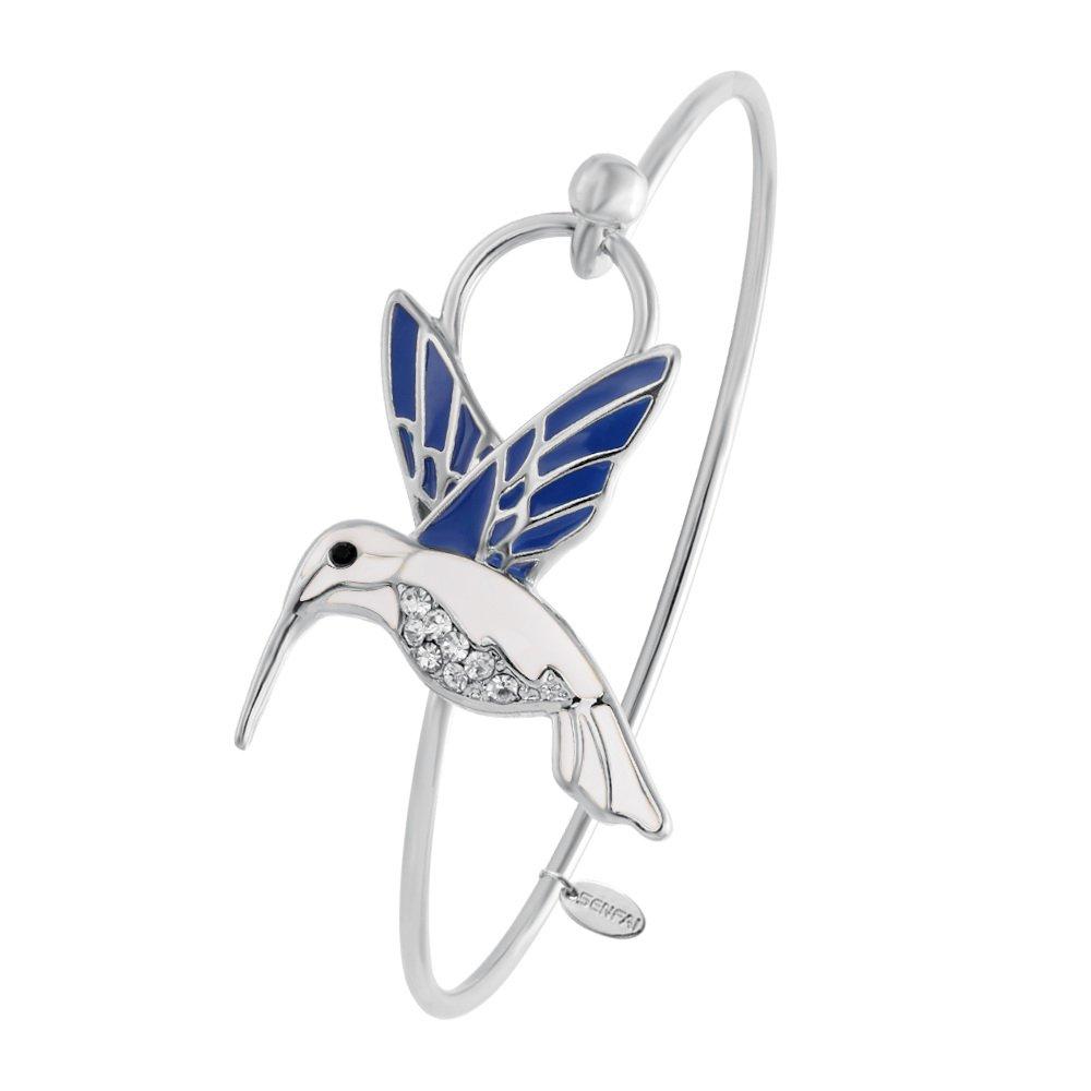 SENFAI Tiny Enamel Trochilus Crystal Easy Openning Charm Bracelet and Hummingbird Bangle Female (Silver)