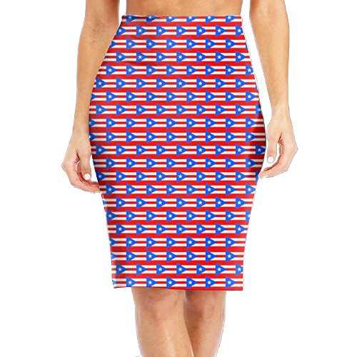 Puerto Rico Flag Dress (Tailing Women's Pencil Skirt Puerto Rico Flag Long Silm Dress)