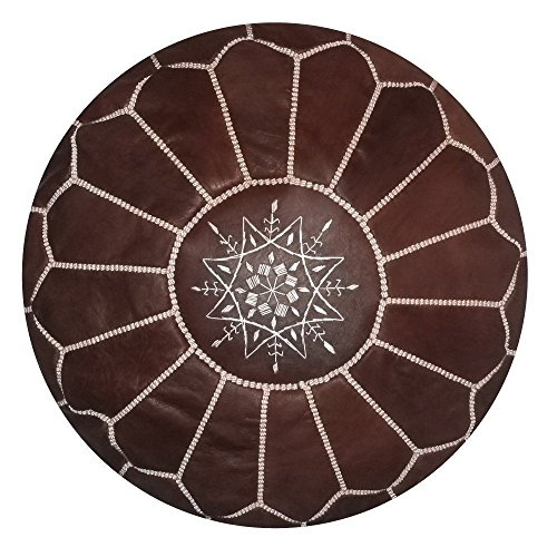 Moroccan handmade leather pouf ottoman round footstool color