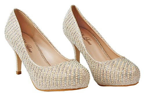 Gold Rhinestone 5 Glitter Pearl Crystal Dress Women 7 Sparkle Evening Paola Pumps 6wBT7