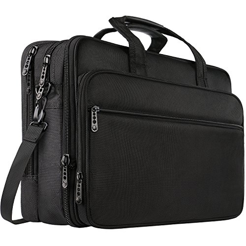 Extra Laptop Bag ,17 inch Durable Organizer Business Travel laptop messenger Bag,Water Resisatant Expandable Large Capacity Briefcase Computer Office Shoulder big laptop case bag For Men Women -black (Thick Polyester)